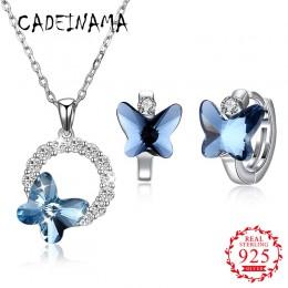CADEINAMA moda motyl Austria kryształowy wisiorek naszyjnik kolczyki zestaw kolczyków 925 Sterling Silver dziewczyna kobiet w po