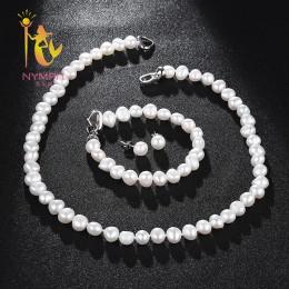 Nimfa słodkowodne Pearl zestaw biżuterii dla kobiet naturalny barokowy biały kamień koraliki Choker naszyjnik kolczyki bransolet