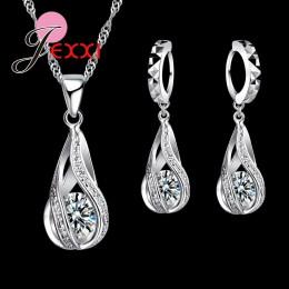 JEMMIN 925 Sterling Silver klasyczny romantyczny Drop kształt biały zestawy kryształowej biżuterii Water Wave naszyjnik wisiorek