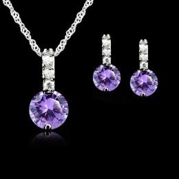 Jemmin 925 Sterling Silver Jewelry Sets dla kobiet ślubne austriackie kryształowe wisiorki naszyjnik zestaw kolczyków dla kobiet