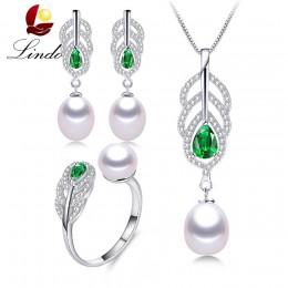 2019 najbardziej modne naturalne perły zestawy dla kobiet AAAA wysokiej jakości srebrny naszyjnik kolczyki pierścień zielony kry