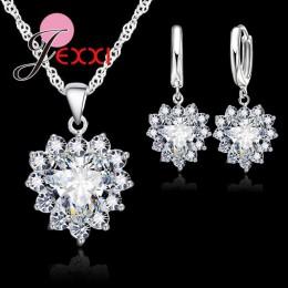 Jemmin nowa moda 6 kolor kobiety kobiece serce kryształ zestaw biżuterii na ślub zaręczyny 925 Sterling srebrny naszyjnik kolczy