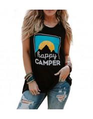 Przewiewna bawełniana koszulka damska bez rękawów letnia modna czarna granatowa szara sportowa z okrągłym dekoltem