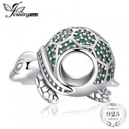 JewelryPalace Ocean zwierząt żółw Nano rosyjski symulowane Emerald 925 Sterling Silver paciorki dla kobiet 2018 nowy gorący