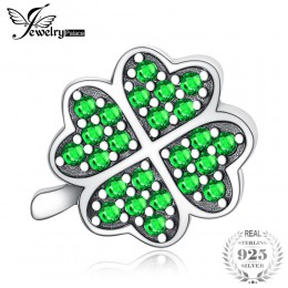 JewelryPalace szczęście irlandzka koniczyna 0.6ct zielony Cubic cyrkon 925 Sterling Silver paciorki dla kobiet gorąca sprzedaż m