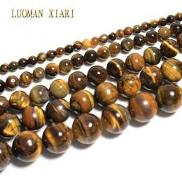 Grzywny naturalny AAA + okrągły tygrysie oko kamień koraliki do tworzenia biżuterii bransoletka Zrób To Sam naszyjnik materiał 6
