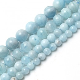 Naturalny akwamaryn kamień okrągły luźne koraliki modułowe dla wyrób biżuterii bransoletka naszyjnik 15 cali/strand 6/8/10/12mm