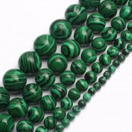 Naturalny malachit klejnot okrągły luźne koraliki do biżuterii bransoletka, naszyjnik, dzięki czemu 15 cali/strand darmowa wysył