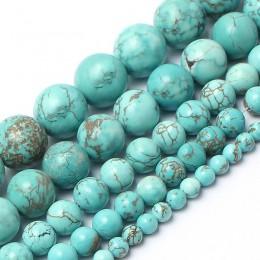 Koraliki z kamienia naturalnego turkusowy kamień koraliki do wyrób biżuterii bransoletka naszyjnik 4/6/8/10/12mm 15 cali Diy biż