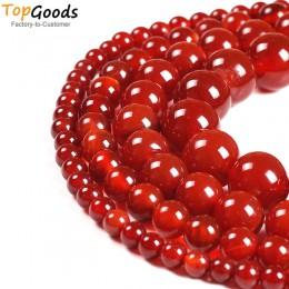 TopGoods kamień naturalny koraliki czerwony agat okrągły luźne Onyx projekt bransoletka 4 6 8 10 12 14mm karneol koraliki do two