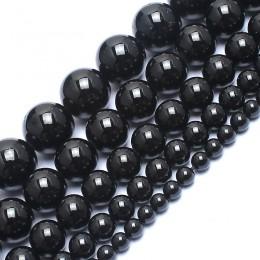 Naturalny kamień okrągły koraliki prawdziwej skóry czarne turmaliny koraliki do wyrób biżuterii bransoletka naszyjnik 15 cali 4/