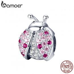BAMOER New Arrival 925 Sterling Silver biedronka różowy sześciennych cyrkon owady Charms koraliki nadające się do bransoletki DI