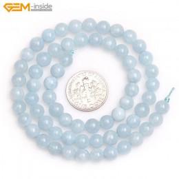 Klejnot w środku naturalny 6-12mm gładkie kamień okrągły koraliki niebieski Jades koraliki do tworzenia biżuterii koraliki 15 ca