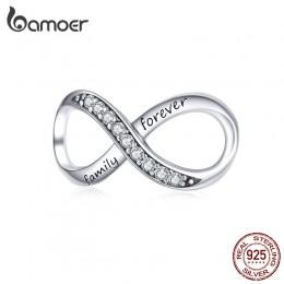 BAMOER Big Charms prawdziwe srebro 925 Infinity rodziny na zawsze jasny kryształ urok dla oryginalnego 925 marka bransoletka SCC