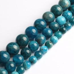 A + naturalne koraliki 6mm/8mm/10mm niebieski apatyt kamień koraliki do wyrób biżuterii bransoletka naszyjnik 15 cali