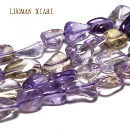 LUOMAN XIARI nieregularne naturalne Ametrine kamień koraliki do tworzenia biżuterii bransoletka Zrób To Sam naszyjnik materiał o