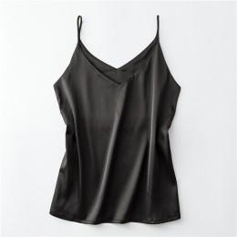 Modna elegancka bluzeczka damska na cieniutkich ramiączkach satynowa seksowny dekolt wizytowa