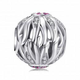 JewelryPalace z liści oliwnych stworzył różowe Sapphire kwiatowy koralik 925 Sterling Silver Charm paciorek Fit bransoletki