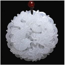 Piękne oryginalne ręcznie robione naturalny biały Jade rzeźbione smok feniks wisiorek + naszyjnik moda rzeźba wisiorki biżuteria