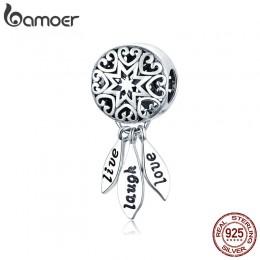 BAMOER gorąca sprzedaż oryginalna 925 Sterling Silver życie Dream Catcher zawieszki charms fit bransoletki i naszyjniki biżuteri