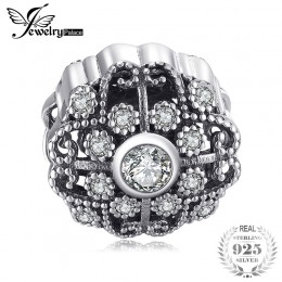Jewelrypalace 925 Sterling Silver Vintage pomyślny sześcienne cyrkonie Charms Fit bransoletki prezenty dla kobiet moda biżuteria