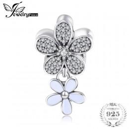 Jewelrypalace 925 Sterling Silver Shimmering klastra wyczyść cyrkonia flory Charm bransoletki prezenty dla kobiet moda biżuteria