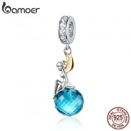 BAMOER autentyczne 925 srebro Elf planeta niebieski wisiorek z cyrkonią Charms fit oryginalny naszyjniki i bransoletki biżuteria