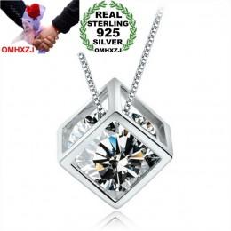OMHXZJ hurtownia geometryczna kobieta magiczna kostka moda kpop AAA cyrkon 925 sterling silver bez łańcucha naszyjnik zawieszki