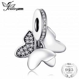 Jewelrypalace ze srebra próby 925 w kształcie motyla wróżka biały ze szkła Murano i Pave cyrkoniami Charm bransoletki prezenty d