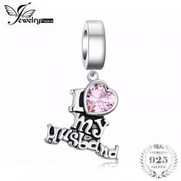 JewelryPalace słodka miłość stworzył różowe Sapphire serce 925 srebro Charm Fit bransoletki jako piękne prezenty dla kobiet