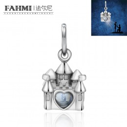 FAHMI 100% 925 srebro oryginalny urok Retro zamek zaloty walentynki mały wisiorek eleganckie kobiety biżuteria prezent