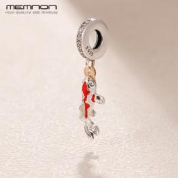 Memnon czerwony emalia Lucky charms 925 Sterling Silver karpia wisiorek urok pasuje koraliki bransoletki naszyjniki diy biżuteri
