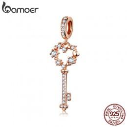 BAMOER 925 Sterling Silver Shining gwiazda klucz kształt zawieszki charms fit kobiety bransoletki i naszyjniki luksusowa biżuter