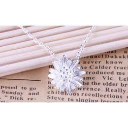 OMHXZJ hurtownie biżuteria okrągły kobieta słońce kwiat mała daisy gwiazda kpop 925 sterling silver bez łańcucha naszyjnik zawie