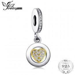 Jewelrypalace koraliki Charms Fit bransoletki 925 Sterling srebrny brokat złoty Murano szklane serce prezenty dla kobiet moda bi