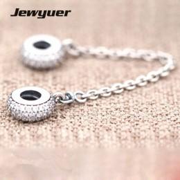 Nowa jesienna srebro Pave inspiracja łańcuch bezpieczeństwa charms 925 sterling Silver serce urok pasuje koralik bransoletka diy