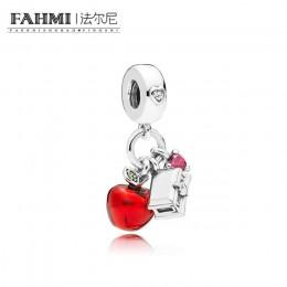 FAHMI 100% 925 Sterling Silver 797486 CZRMX śnieg WHITE'S APPLE i serce wiszące CHARM oryginalna biżuteria prezent zalecane