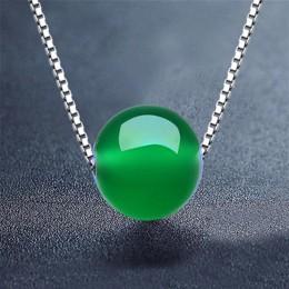 Yu xin yuan naturalne Jade rdzeniastego 14mm zielony okrągły koralik naszyjnik wisiorek z bezpłatnym 925 srebrny łańcuch dla kob