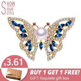 ZHBORUINI 2019 nowy naturalna perła słodkowodna broszka perła motyl broszka złoty kolor Pearl biżuteria dla kobiet akcesoria do