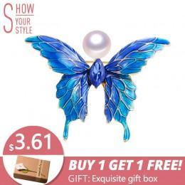 ZHBORUINI 2019 prawdziwe naturalne perły broszka niebieski emalia Butterfly Pearl szpilki słodkowodne perły biżuteria dla kobiet