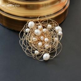 GLSEEVO naturalne wody słodkiej perła baroku broszki dla kobiet wesele prezent szpilki i broszki luksusowe Fine jewelry GO0331