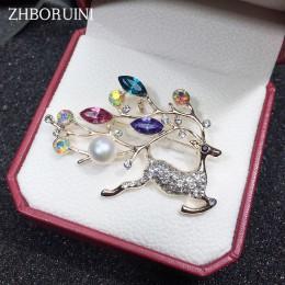 ZHBORUINI wysokiej jakości naturalna perła słodkowodna broszka Pearl Deer broszka Pearl biżuteria dla kobiet akcesoria do prezen