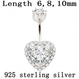 Prawdziwe 925 sterling srebrny brzuch pierścionek kobiet w porządku biżuteria serce body piercing biżuteria S925 6 8 10mm kolczy