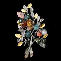 Naturalny kryształ starożytnych broszka z imitacji diamentu oddział roślin liści drzewa szpilki dla kobiet bankiet prezenty buki
