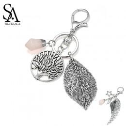 SA SILVERAGE okrągłe drzewo życia liść różowy kryształ breloczki skrzydło gwiazda brelok Star torba brelok Car Key akcesoria w s
