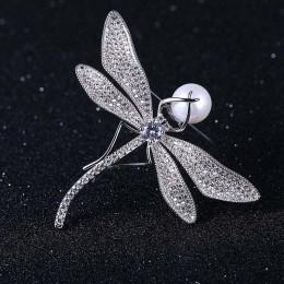 BSL biżuteria sklep wysokiej jakości moda Dragonfly broszki dla kobiet z cyrkonią i Shell Pearl prezent na Boże Narodzenie