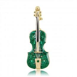 Zielona emalia gitara skrzypce broszki Pin i broszki dla kobiet Wedding Party biżuteria Instrument muzyczny Metal Pin nowy rok p