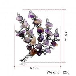 Retro srebrny kryształowe broszki roślin liści drzewa szpilki kobiety kwiatowy kwiat Party bukiet klapy Pin fioletowy kamień swe