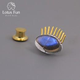 Lotus zabawy majątek 925 Sterling Silver naturalne labrador twórczy w porządku biżuteria ciekawe złoty rzęs broszki dla kobiet