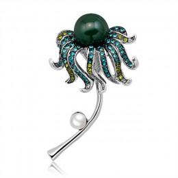 Rhinestone Octopus kwiat szpilki i broszki dla kobiet roślin broszka perły kryształowe metalowe odznaki z kamienia naturalnego u